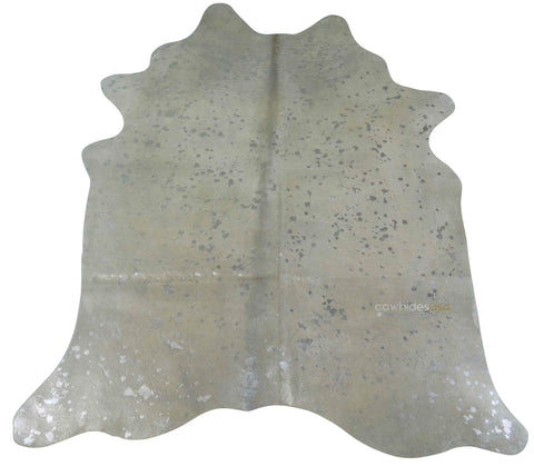 Silver Metallic Cowhide Rugs Size ~7'x 7'