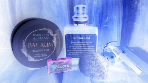 Sebum Gold Post Shave Serum (Men's Aftershave) for wetshaving skin care, Barrister & Mann Bay Rum Shave Soap, Delta Echo Cubano DE Safety Razor with shave brush and Gillette 7 O'Clock Super Stainless Razor Blades