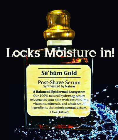 Sebum Gold Post-Shave Facial Serum Locks in Moisture - Cork and Wax Seal - Luxury Mens Skin Care