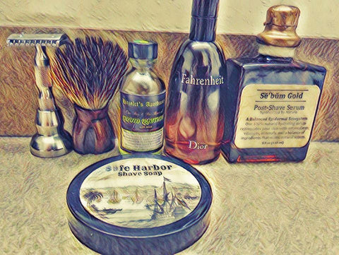 Sebum Gold Post Shave Serum ( Men's Aftershave) Skincare for Wet Shaving with Fahrenheit Dior & Safe Harbor Shaving Soap