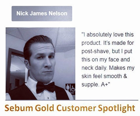 Sebum Gold Post Shave anti-aging serum (mens skincare) customer review, customer testimonial