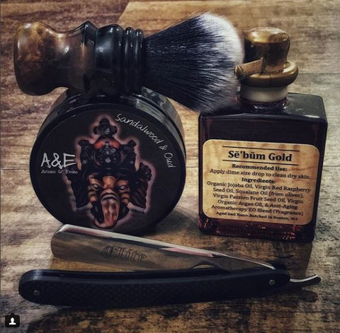 Sebum Gold Post Shave Serum (aftershave) skincare for men wetshaving traditional Jeff Logan Custom Brush, Ariana & Evans Sandalwood Oud and Boker Elite Straight Razor