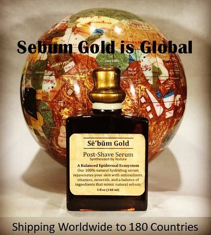 Sebum Gold postshave antiaging facial serum celebrity skincare for men used by famous celebrity male groomers and now globally shipping international worldwide to 180 countries.