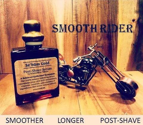 Sebum Gold Post Shave Serum (Aftershave) Mens All Natural Organic Skincare with Harley Davidson Motorcycle