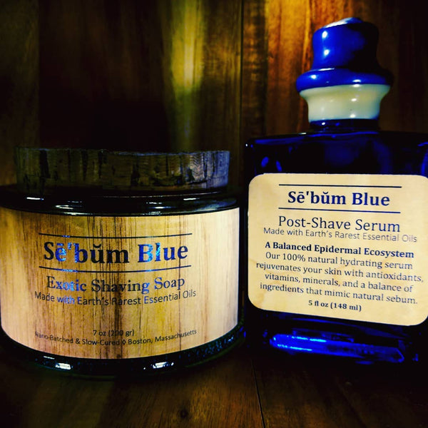Sē'bŭm Blue Exotic Shaving Set