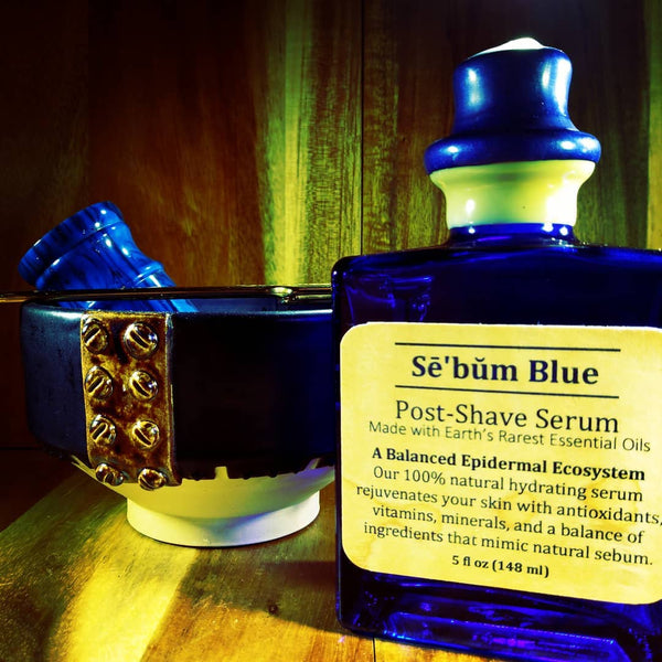 Sē'bŭm Blue Exotic Post-Shave Serum 5oz Artisan Bottle