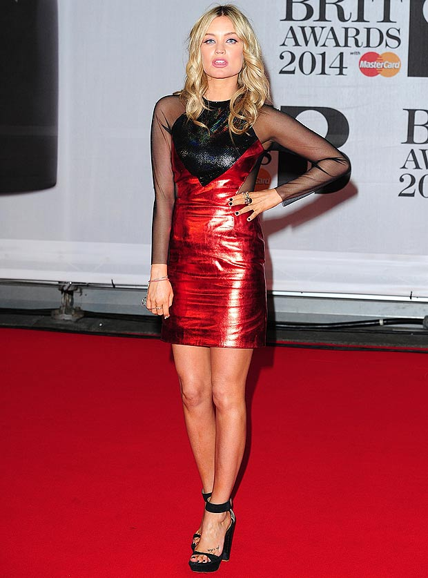 Laura Whitmore wearing Hasan Hejazi for the Brit awards