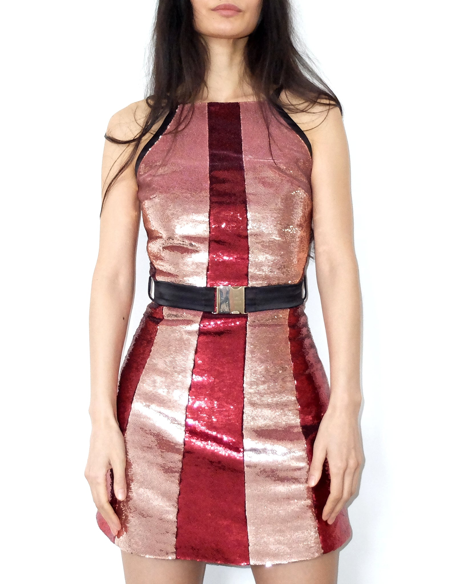 Red and pink sequin A-line minidress