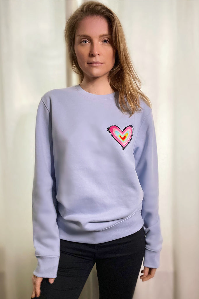 Blue Organic Cotton Heart Sweatshirt