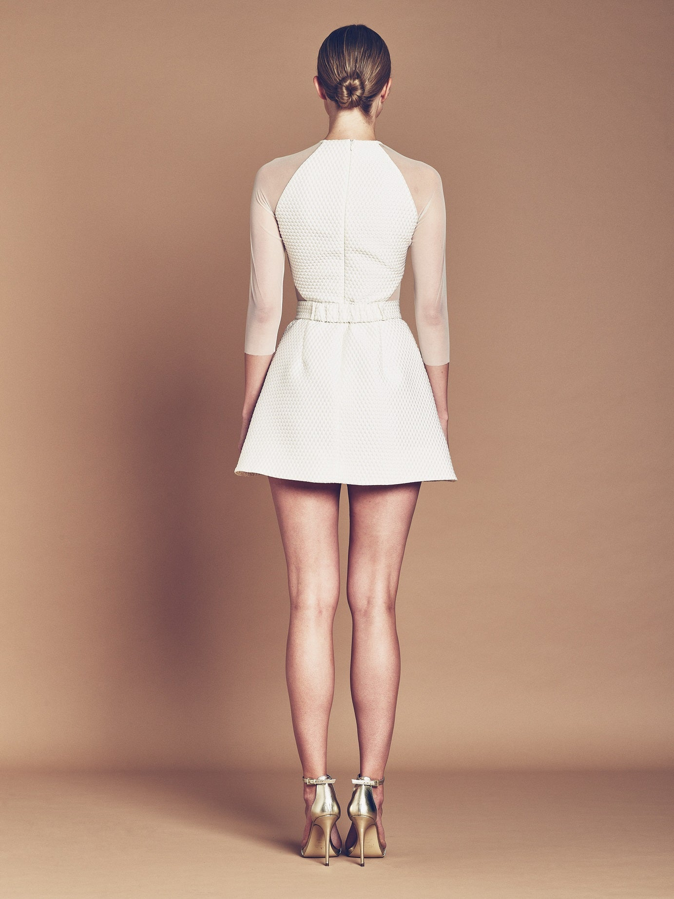 Ivory silk bubble Jacquard mini dress