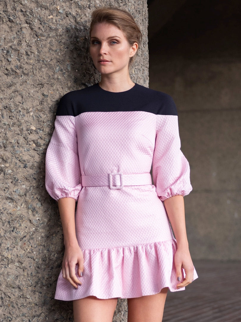 Pink And Navy Frilled Minidress