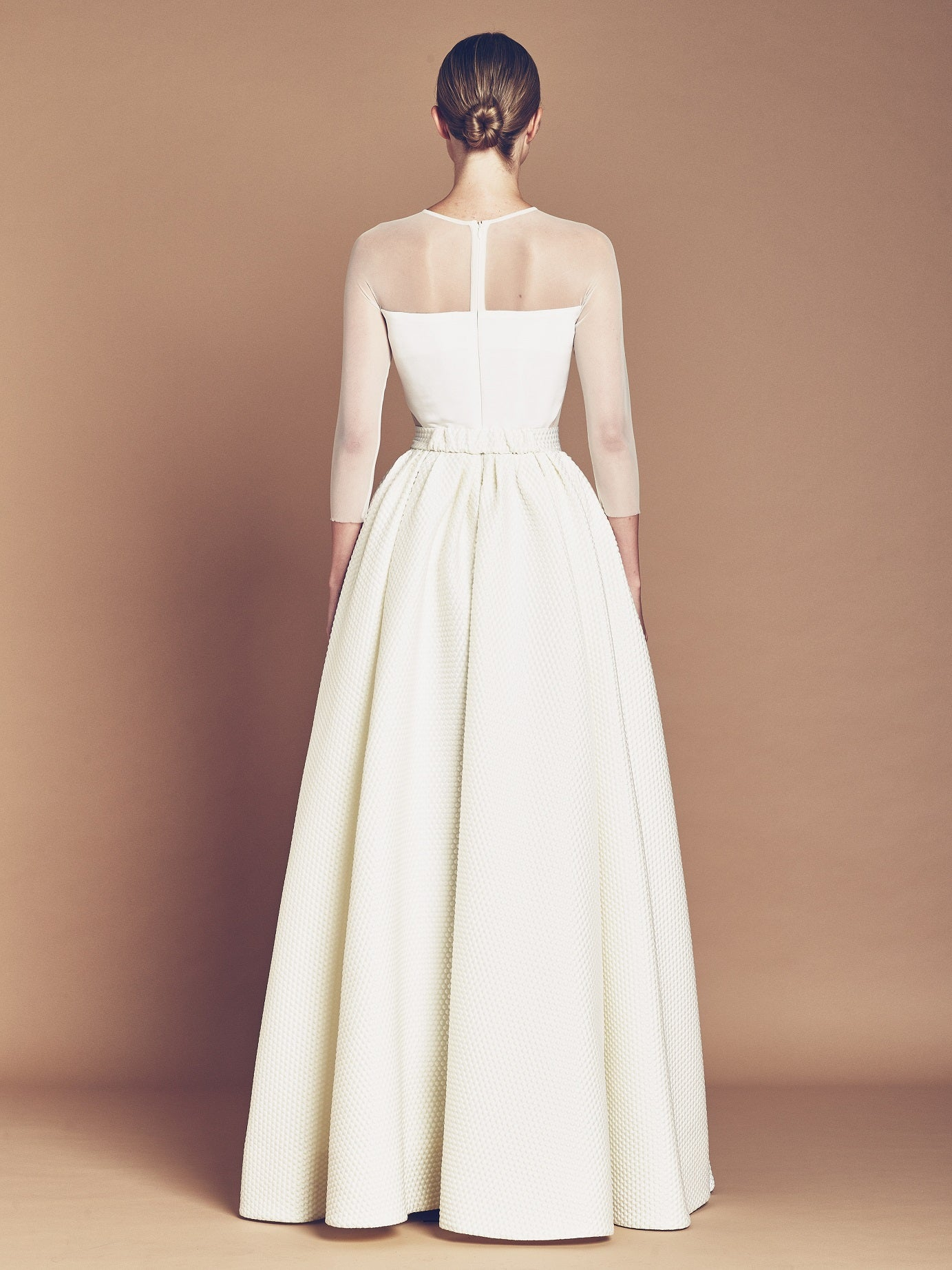 Ivory silk bubble Jacquard maxi gown