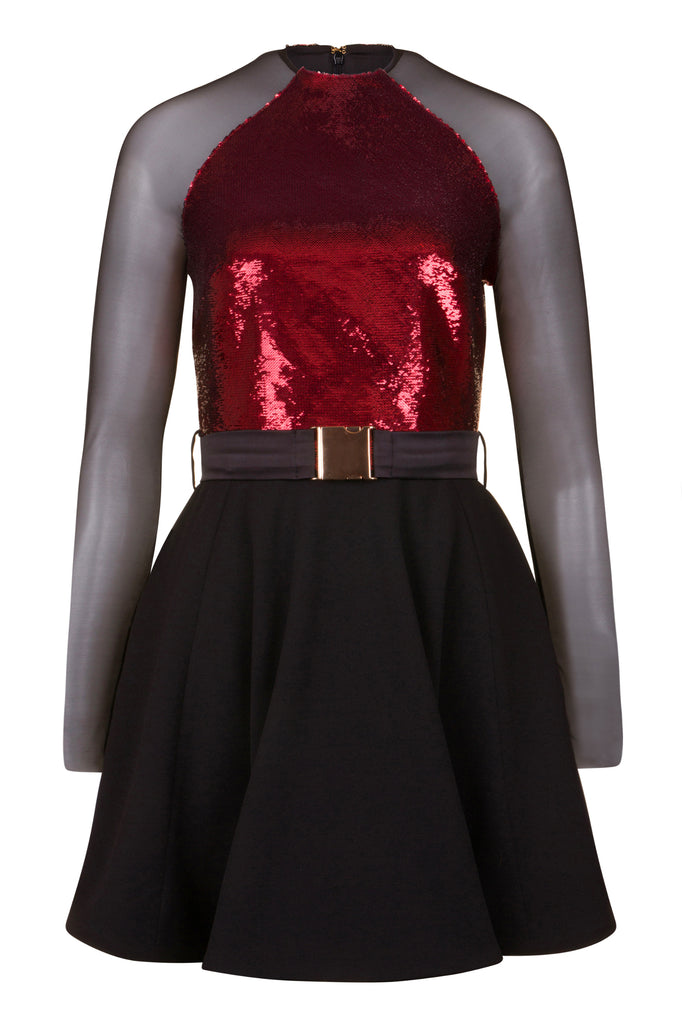 Red sequin skater dress