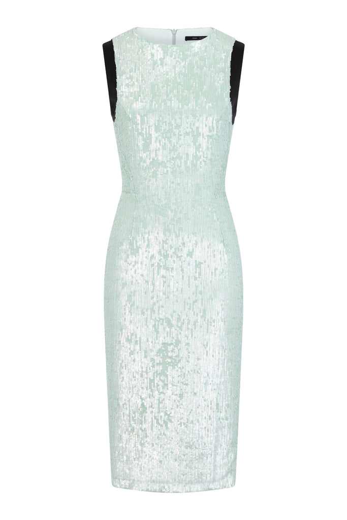 Pale green sequin pencil dress