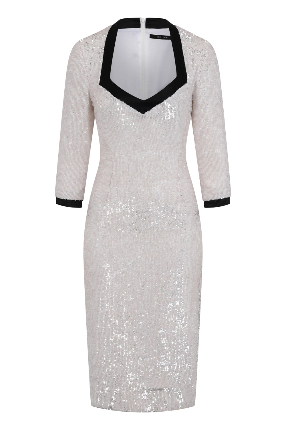 White sequin pencil dress