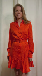 Load and play video in Gallery viewer, Orange Shirt Dress