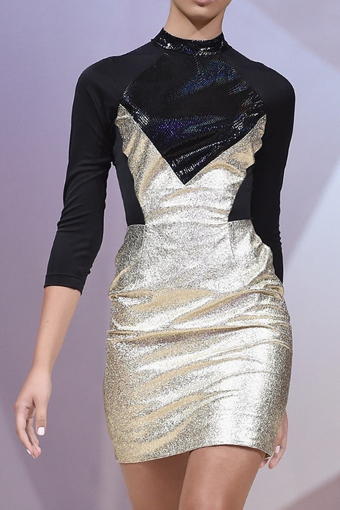 Gold metallic leather dress