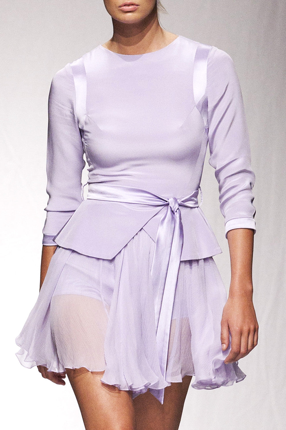 Lilac silk playsuit with skirt