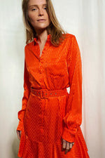 Load image into Gallery viewer, Orange Shirt Dress