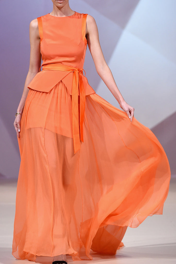 Orange silk gown