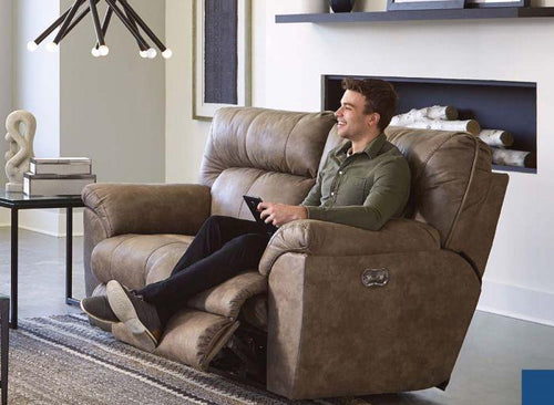 265 Hollins Power Reclining Loveseat (Coffee) - Cox Furniture and Flooring