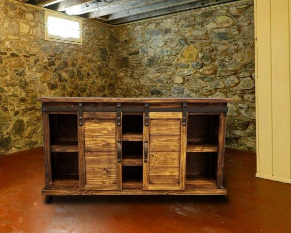 Antique Barn Door TV Stand by Rustic Creations - Cox Furniture and Flooring