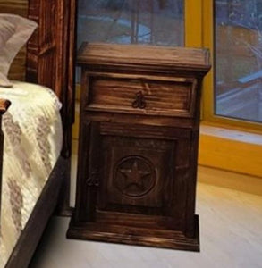 Antique Night Stand with Star by Rustic Creations - Cox Furniture and Flooring