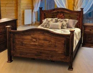Antique Petite Bed Full with Star by Rustic Creations - Cox Furniture and Flooring