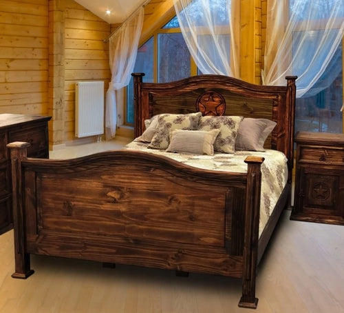 Antique Petite Bed King with Star by Rustic Creations - Cox Furniture and Flooring