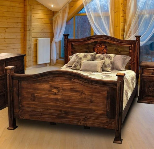 Antique Petite Bed Queen with Star by Rustic Creations - Cox Furniture and Flooring