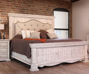 Bella Vintage White Upholstered King Mansion Bed by International Furniture - Cox Furniture and Flooring