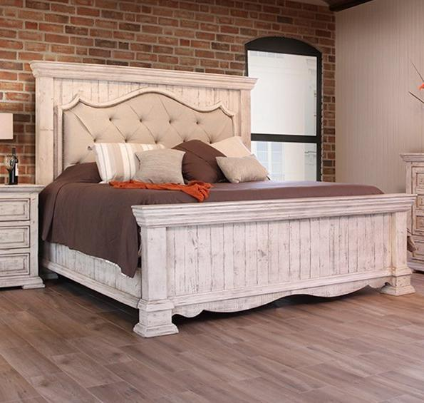 Bella Vintage White Upholstered Queen Mansion Bed by International Furniture - Cox Furniture and Flooring