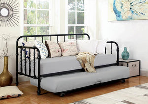Black Metal Daybed with Trundle by Coaster Furniture - Cox Furniture and Flooring