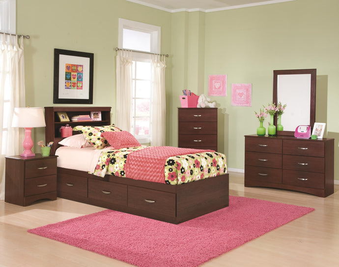 Briar Twin Bedroom Set with Bookcase Headboard with Drawer Unit - Cox Furniture and Flooring