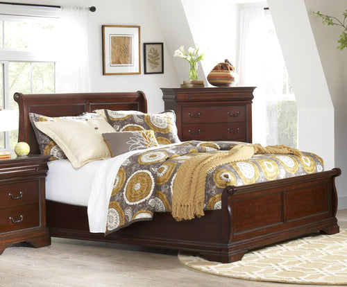Chateau Cherry King Low Profile Sleigh Bed by Elements Furniture - Cox Furniture and Flooring