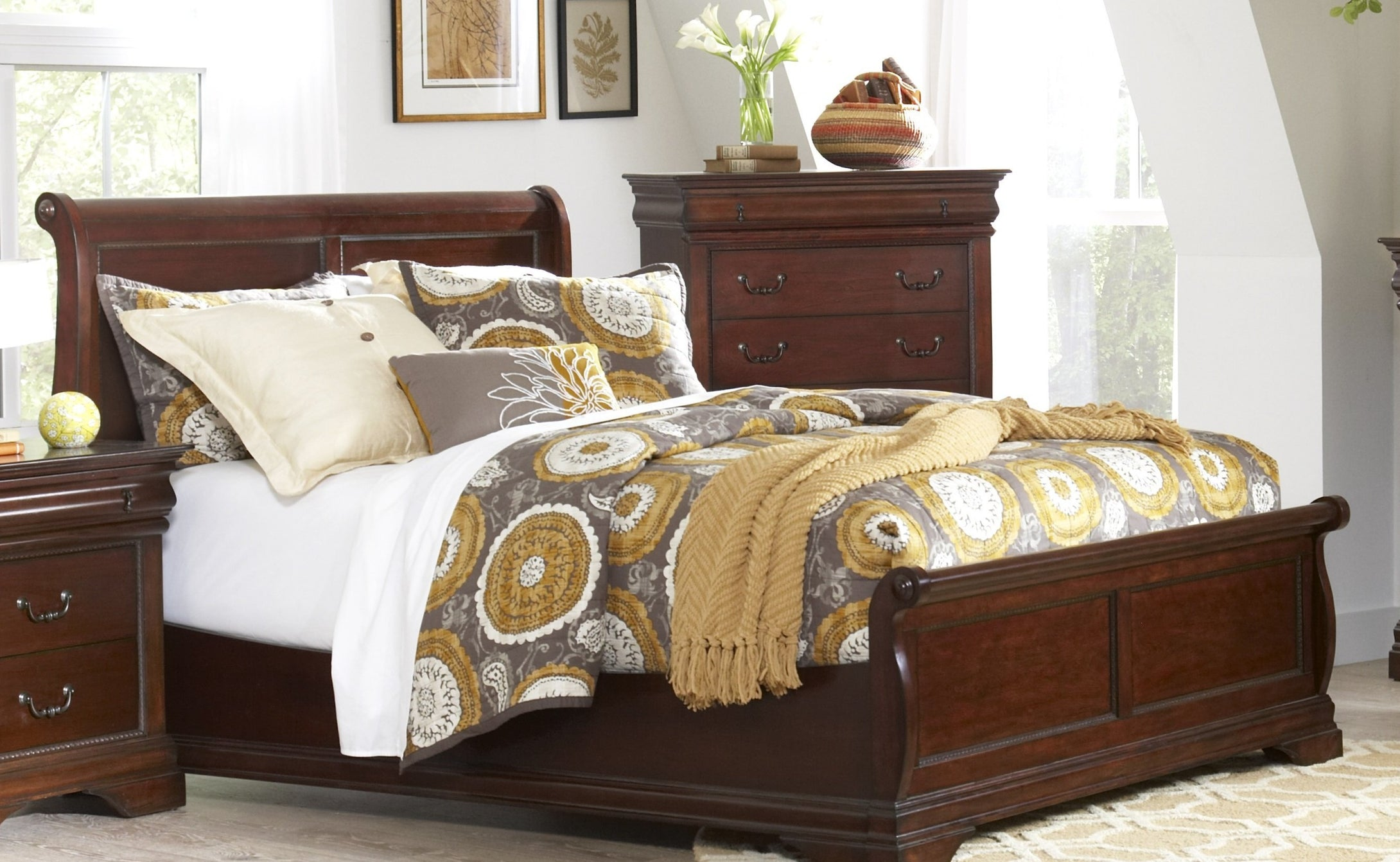 Chateau Cherry Queen Low Profile Sleigh Bed by Elements Furniture - Cox Furniture and Flooring
