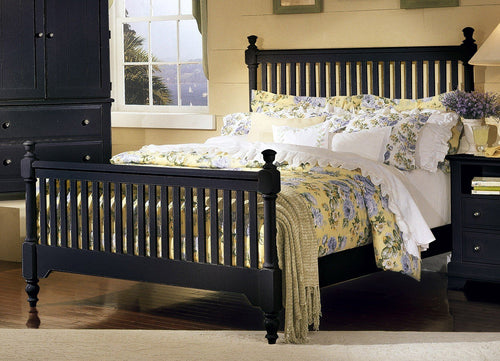 Cottage Collection Black Queen Slat Bed - Cox Furniture and Flooring