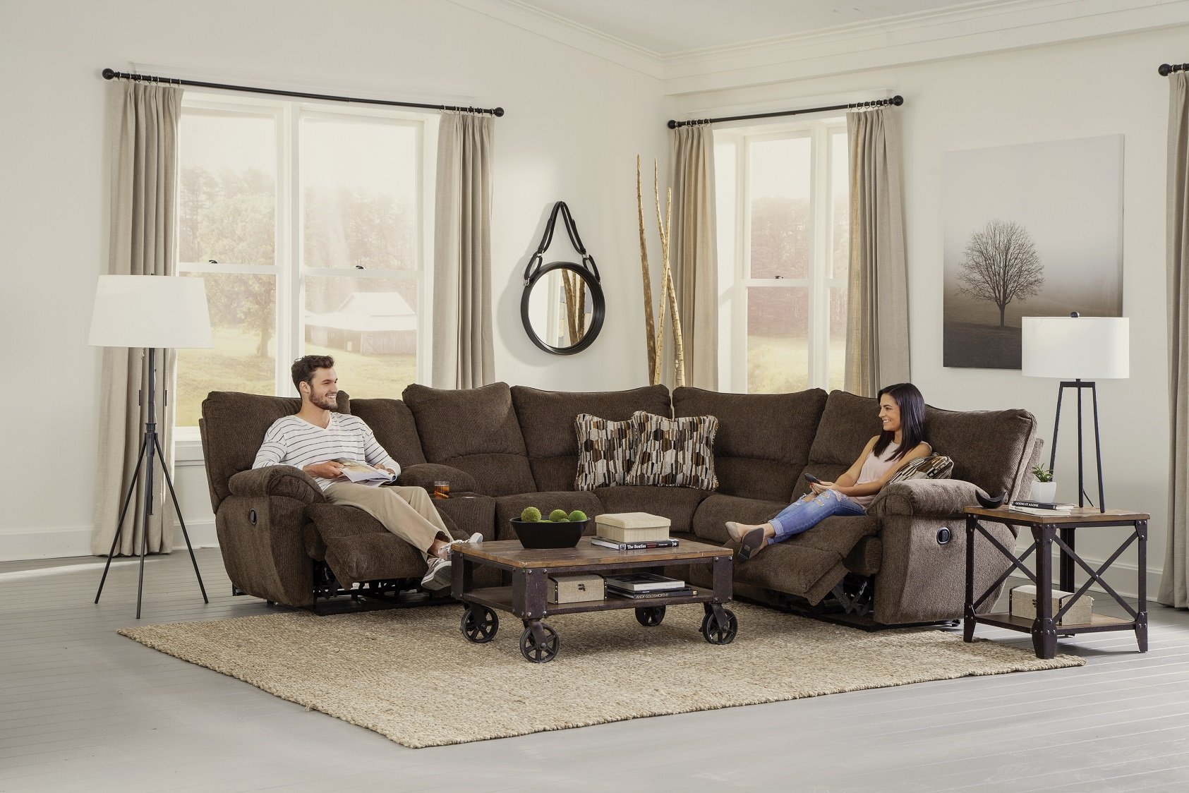 Elliot Chocolate Reclining Sectional by Catnapper - Cox Furniture and Flooring