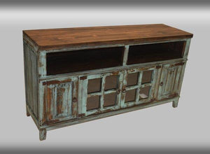 Hacienda Turquise TV Stand 60 Inch by Rustic Creations - Cox Furniture and Flooring