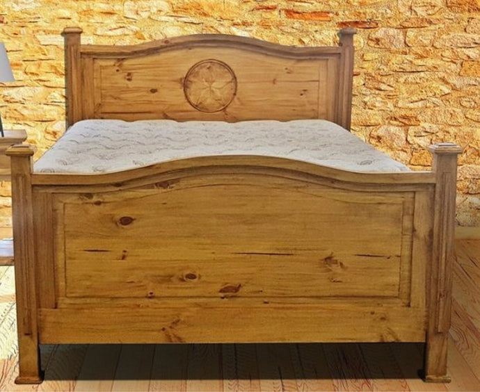 Honey Petite Queen Bed with Star by Rustic Creations - Cox Furniture and Flooring