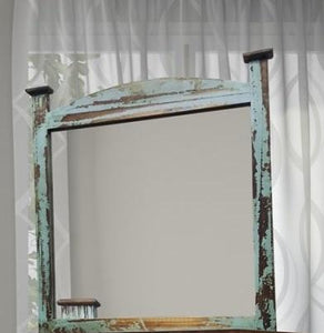 Mansion Turquoise Arched Mirror by Rustic Creations - Cox Furniture and Flooring