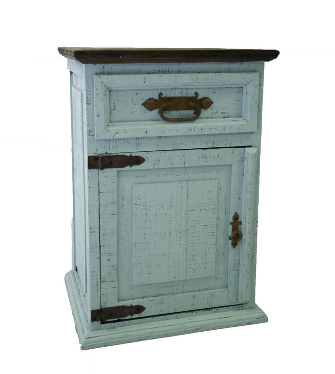 Mansion Turquoise Door Nightstand by Rustic Creations - Cox Furniture and Flooring