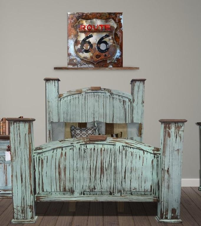Mansion Turquoise King Bed Solid Wood by Rustic Creations - Cox Furniture and Flooring