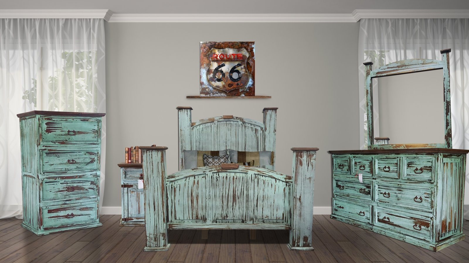 Mansion Turquoise Queen Bedroom Set by Rustic Creations - Cox Furniture and Flooring