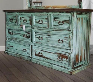 Mansion Turquoise Solid Wood 8 Drawer Dresser by Rustic Creations - Cox Furniture and Flooring