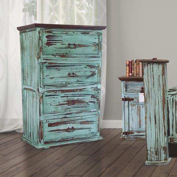Mansion Turquoise Solid Wood Chest by Rustic Creations - Cox Furniture and Flooring