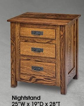 Mission Styled Solid Wood 3 Drawer Night Stand - Cox Furniture and Flooring