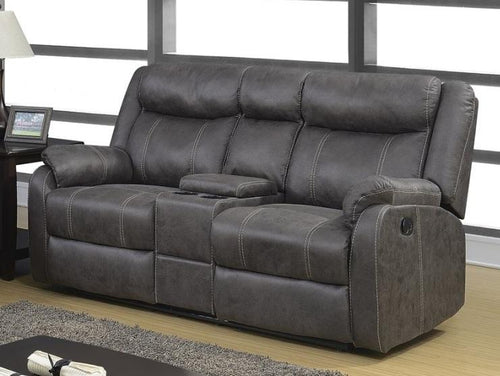 Rummy Grey Reclining Loveseat with Console - Cox Furniture and Flooring