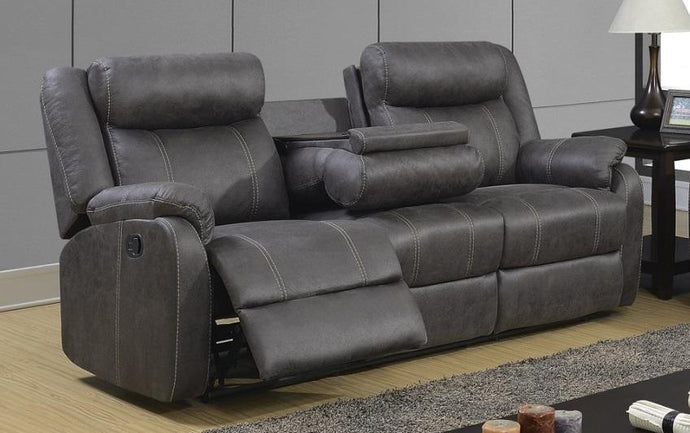 Rummy Grey Reclining Sofa with Drop Down Table - Cox Furniture and Flooring
