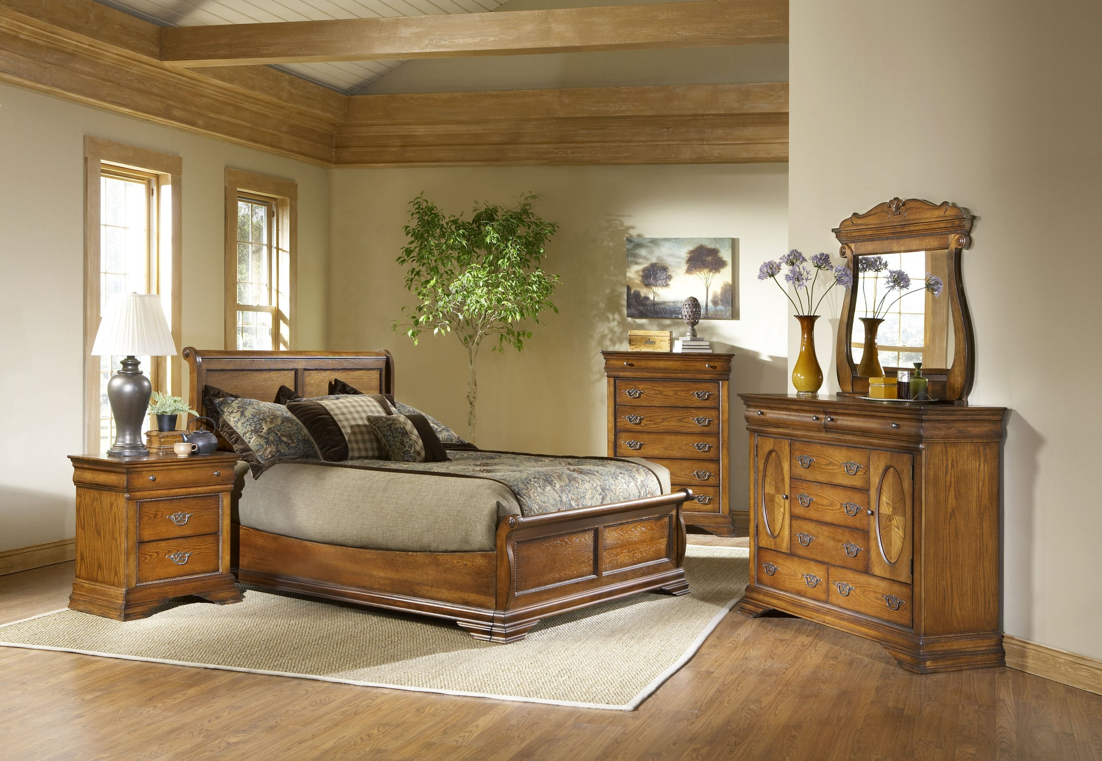 Shenandoah Oak King Bedroom Set by Elements Furniture - Cox Furniture and Flooring